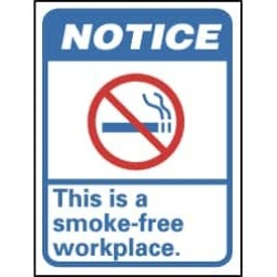 NMC 10x14 Rigid Plastic Smoke Free Workplace Sign NGA1RB