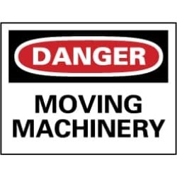NMC 7x10 Rigid Plastic Dngr Moving Machnery Sign D305R
