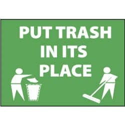 NMC 10x14 Plastic Sign Go Green Put Trash In ENV27RB