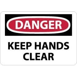 NMC 10x14 Rigid Plastic Dngr Keep Hands Clr Sign D449RB