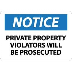 NMC 7x10 Rigid Plastic Private Property Sign N116R