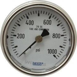 Wika 2-1/2 Inch Dial, 1/4 Inch, 0 to 1000 Scale Range Pressure Ga