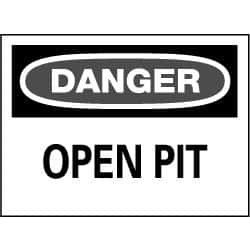 NMC 14x20 Rigid Plastic Danger Open Pit Sign D109RC