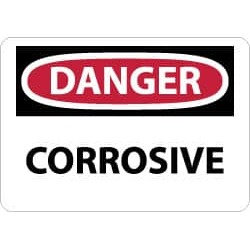 NMC 7x10 Rigid Plastic Danger Corrosive Sign D251R