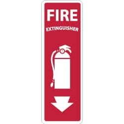 "NMC 12""x4"" Rigid Plastic Fire Extinguisher Sign FX122R"