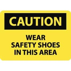 NMC 7x10 Rigid Plastic Wear Sfty Shoes Sign C379R