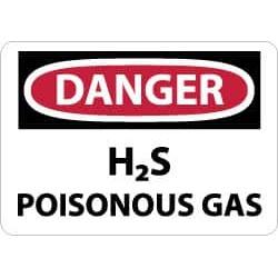NMC 10x14 Fiberglass Dngr H2s Poison Gas Sign D440EB