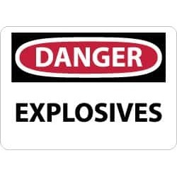 NMC 7x10 Rigid Plastic Danger Explosives Sign D435R