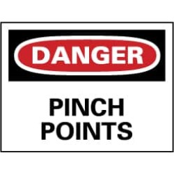 NMC 7x10 Rigid Plastic Danger Pinch Points Sign D149R