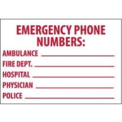 NMC 10x14 Rigid Plastic Emrgy Phone Numbers Sign M346RB