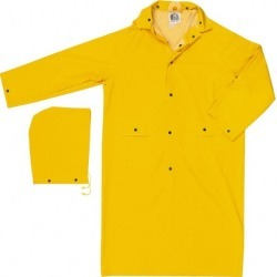 River City Size M, Yellow Rain Coat with 2 Pockets 52 Inch Chest,