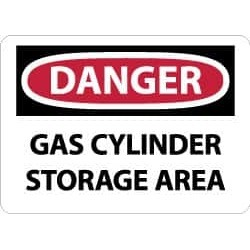 NMC Gas Cyl Storage Area 10x14 Plastic Danger Sign D657RB