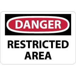 NMC 7x10 Rigid Plastic Danger Restrctd Area Sign D314R