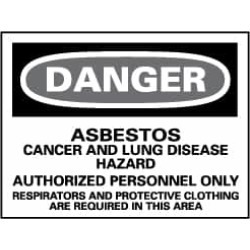 NMC 14x20 Rigid Plastic Dnger Asbestos Sign D95RC