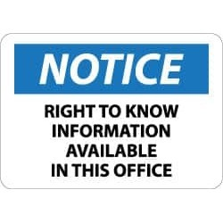 NMC Notice - Right to Know Information Available in This office,