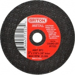 Made in USA 3 Inch Diameter, 60 Grit, Aluminum Oxide, Reinforced found on Bargain Bro Philippines from mscdirect.com for $2.26