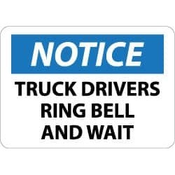 "NMC Truck Driver Ring Bell 10x14""plastic Notice Sign N357RB"