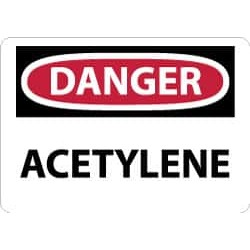 NMC 7x10 Rigid Plastic Danger Acetylene Sign D3R
