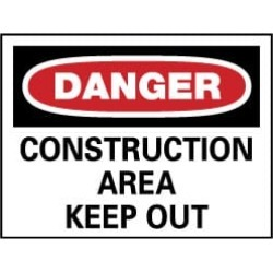 NMC 20x28 Rigid Plastic Dngr-cnstrctn Area Sign D404RD