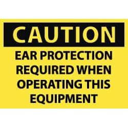 "NMC 3""x5""ps Caution 5/pk Ear Protct Req Op Eqip Lb C382AP"