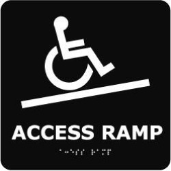 "NMC 8""x8""braille Wh/black Access Ramp Facility Sign ADA12WBK"