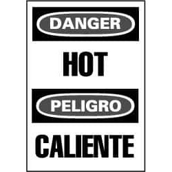 NMC 20x14 Rigid Plastic Bilingual Danger Hot Sign ESD51RC