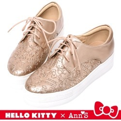 代購: HELLO KITTY X Ann'S 躲貓貓低調烙印2WAY綁帶厚底鞋-玫瑰金 found on Bargain Bro Philippines from mydress for $90.87