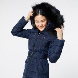 FAUX FUR TRIM HOODED BELTED PUFFER COAT
