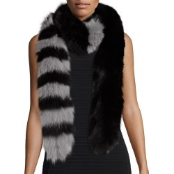 Fox Fur Scarf  Black Gray title=