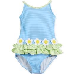 Stripe Tank One-Piece Swimsuit w/ Check Trim, Size 2-6X