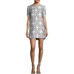 Short-Sleeve Metallic Jacquard Shift Cocktail Dress found on MODAPINS from neimanmarcus.com for USD $1245.00