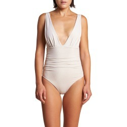 Athena Ruched Metallic One-Piece Swimsuit found on MODAPINS from neimanmarcus.com for USD $312.00