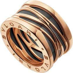 B.Zero1 18k Rose Gold 4-Band Ring with Black Ceramic, Size 53 found on Bargain Bro India from neimanmarcus.com for $2870.00