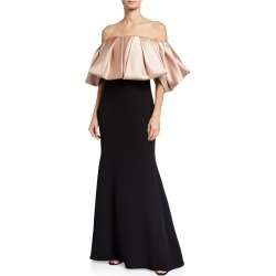 Ruffled Taffeta Off-the-Shoulder Gown found on MODAPINS from neimanmarcus.com for USD $793.00
