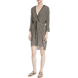 Stripe-Print V-Neck Self-Tie Kaftan Dress found on MODAPINS from neimanmarcus.com for USD $86.00