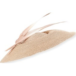Natural Straw Formal Hat w/ Feathers