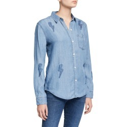 Ingrid Lightning Bolt Button-Down Top found on Bargain Bro India from neimanmarcus.com for $158.00