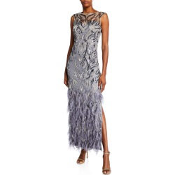 Beaded Cap-Sleeve Column Gown with Feathers found on Bargain Bro India from neimanmarcus.com for $595.00