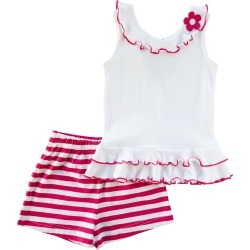 Girl's Floral Ruffle Sleeveless Top w/ Striped Shorts, Size 2-6X found on Bargain Bro India from neimanmarcus.com for $84.00