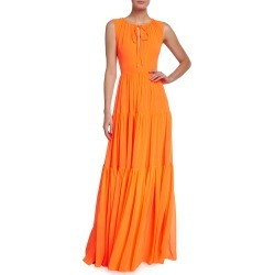 Georgette Split-Neck Tiered Gown found on MODAPINS from neimanmarcus.com for USD $355.00