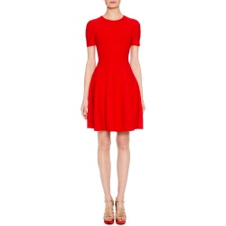 Short-Sleeve Fit-and-Flare Floral-Embossed Short Dress found on MODAPINS from neimanmarcus.com for USD $1100.00