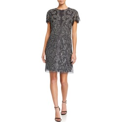 Short-Sleeve Beaded Cocktail Dress found on MODAPINS from neimanmarcus.com for USD $98.00