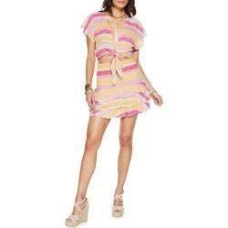 Alden Stripe Tiered Ruffle Miniskirt found on MODAPINS from neimanmarcus.com for USD $195.00