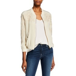 Petite Tyrell Silk Bomber Jacket w/ Embroidery found on Bargain Bro Philippines from neimanmarcus.com for $250.00