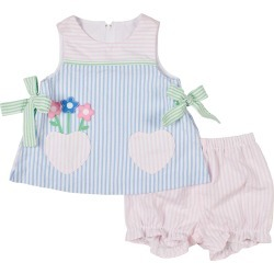 Girl's Striped Floral Heart Pocket Dress w/ Bloomers, Size 3-24M found on Bargain Bro India from neimanmarcus.com for $82.00