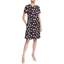 Cap-Sleeve Abstract Floral Dress found on MODAPINS from neimanmarcus.com for USD $1375.00