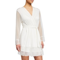 Iona Love Me Lace-Trim Robe found on Bargain Bro India from neimanmarcus.com for $119.00