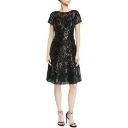 Short-Sleeve Sequin Mini Dress found on MODAPINS from neimanmarcus.com for USD $275.00