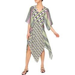 Athena Geometric Bias-Cut Panel Skirt Dress found on MODAPINS from neimanmarcus.com for USD $675.00