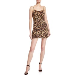 Harmony Leopard Cowl-Neck Mini Slip Dress found on Bargain Bro Philippines from neimanmarcus.com for $285.00